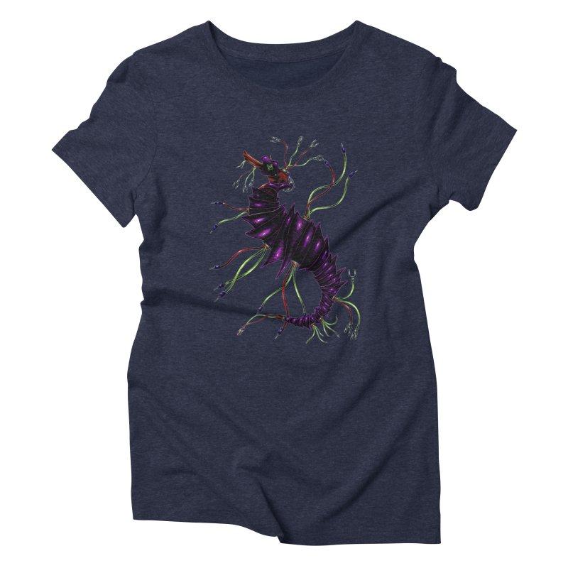 Wirey Sea Dragon Women's Triblend T-Shirt by Natalie McKean