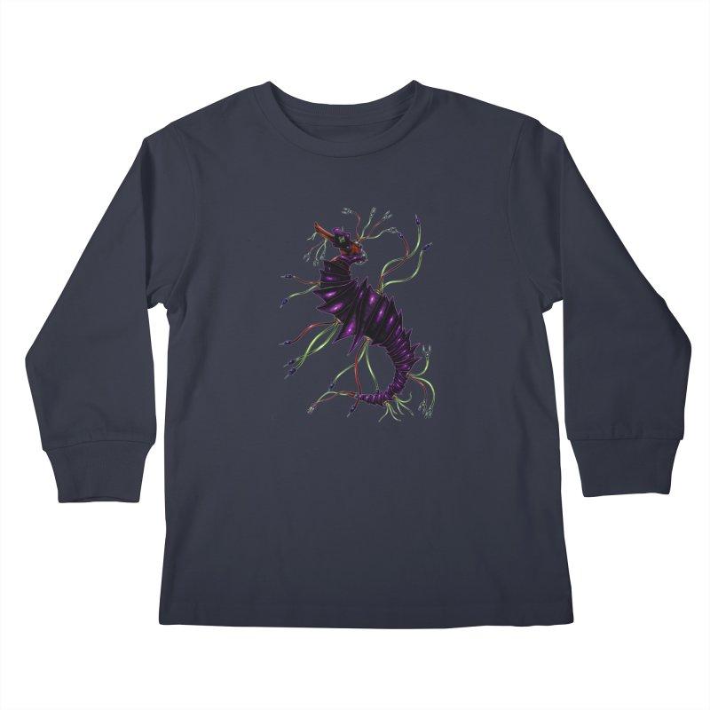 Wirey Sea Dragon Kids Longsleeve T-Shirt by Natalie McKean