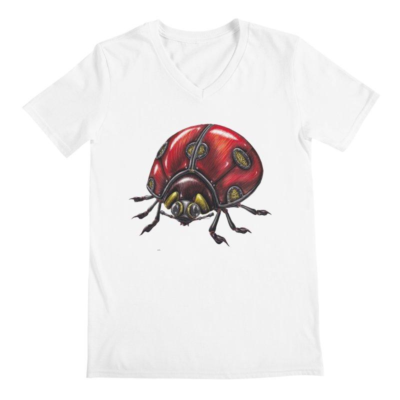 Ladybug Men's V-Neck by Natalie McKean