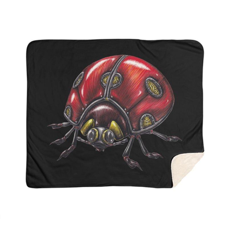 Ladybug Home Sherpa Blanket Blanket by Natalie McKean