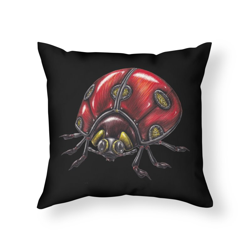 Ladybug Home Throw Pillow by Natalie McKean
