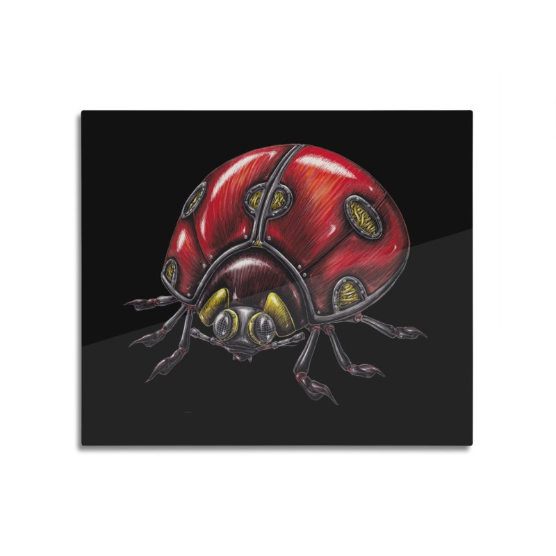 Ladybug Home Mounted Aluminum Print by Natalie McKean