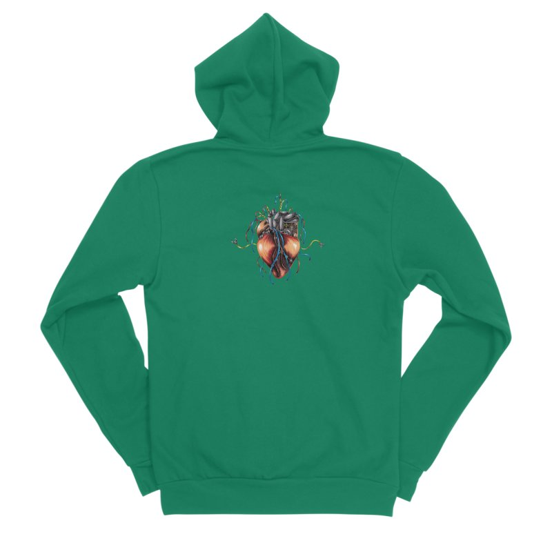 Mechanical Heart Men's Sponge Fleece Zip-Up Hoody by Natalie McKean