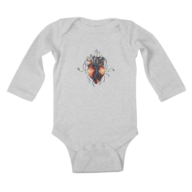 Mechanical Heart Kids Baby Longsleeve Bodysuit by Natalie McKean