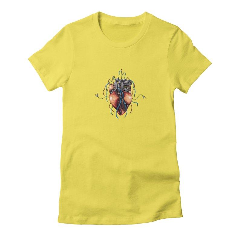 Mechanical Heart Women's Fitted T-Shirt by Natalie McKean