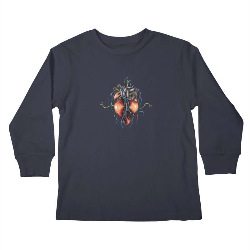 Mechanical Heart Kids Longsleeve T-Shirt by Natalie McKean