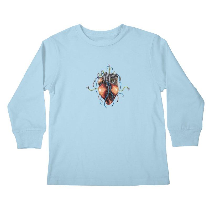 Mechanical Heart Kids Longsleeve T-Shirt by Natalie McKean