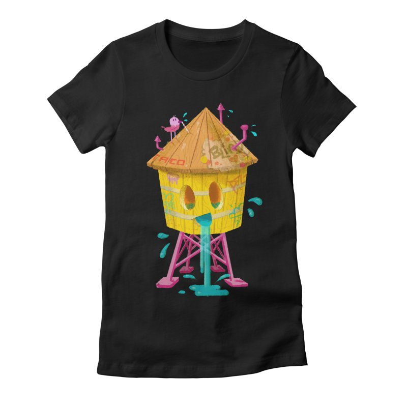 Water Tower Women's Fitted T-Shirt by Nate Bear