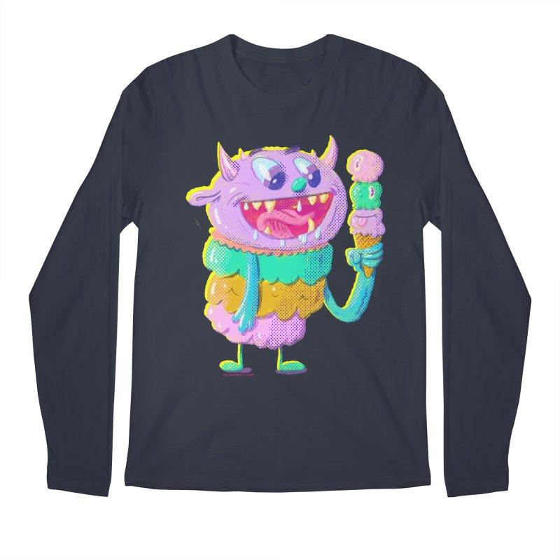 Ice Cream Monster Men's Longsleeve T-Shirt by Nate Bear