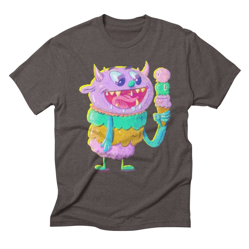 Ice Cream Monster Men's Triblend T-Shirt by Nate Bear