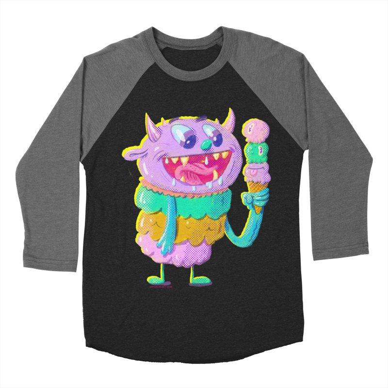 Ice Cream Monster Men's Baseball Triblend T-Shirt by Nate Bear