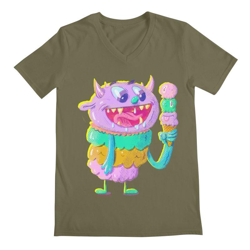 Ice Cream Monster Men's V-Neck by Nate Bear