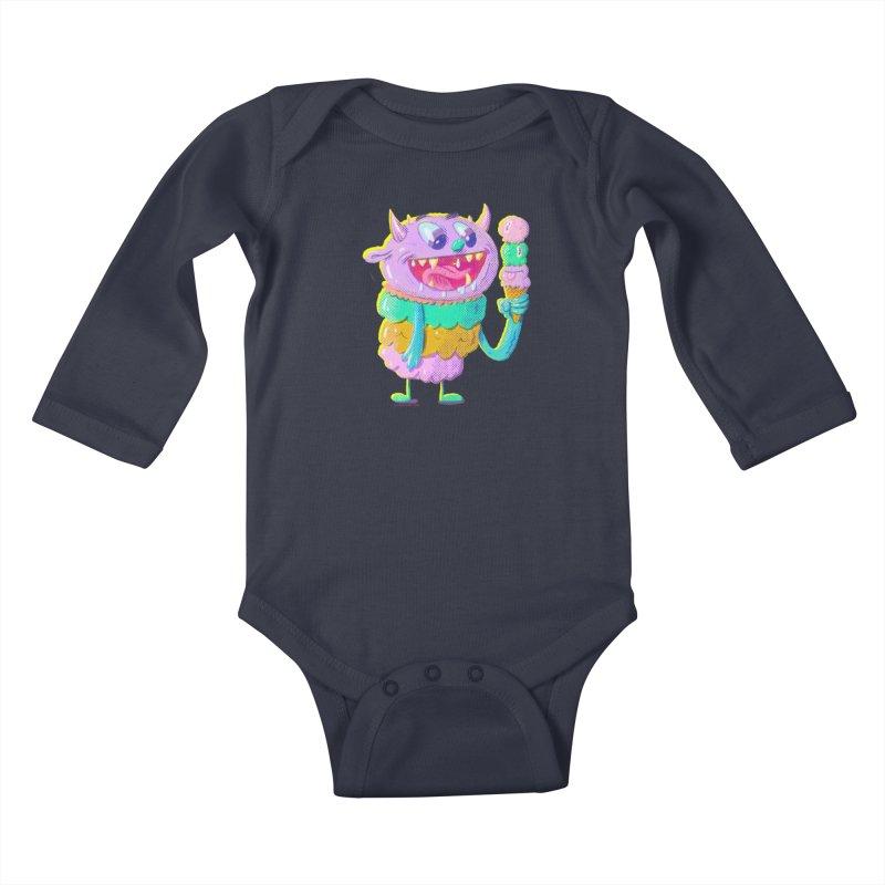 Ice Cream Monster Kids Baby Longsleeve Bodysuit by Nate Bear