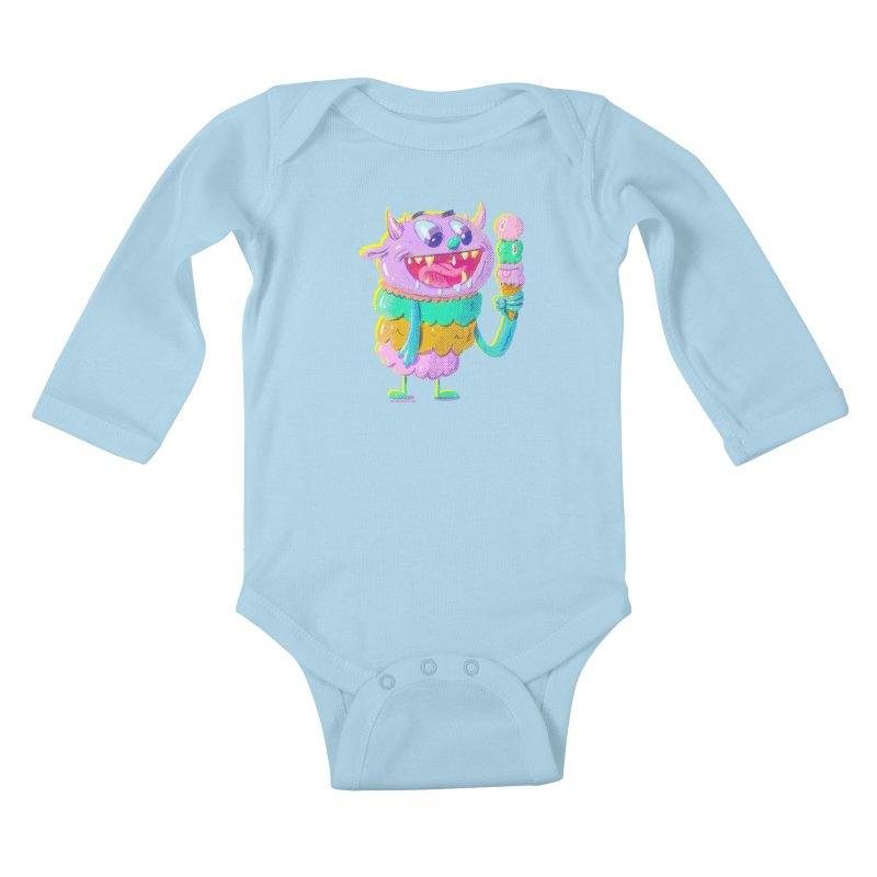 Ice Cream Monster Kids Baby Longsleeve Bodysuit by Nate Bear