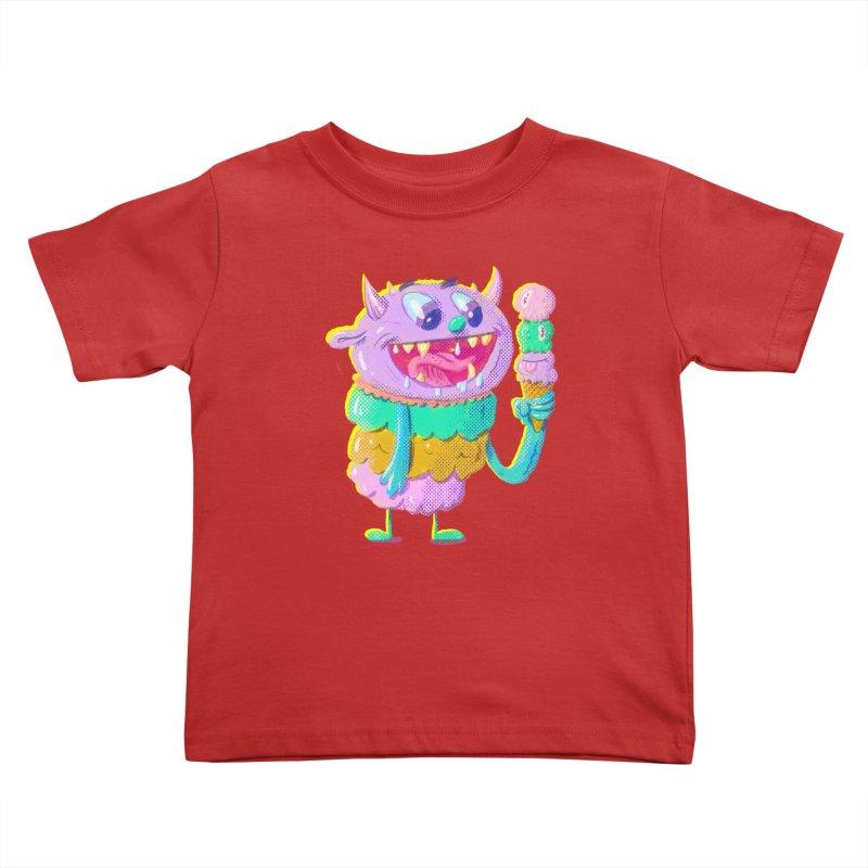 Ice Cream Monster Kids Toddler T-Shirt by Nate Bear