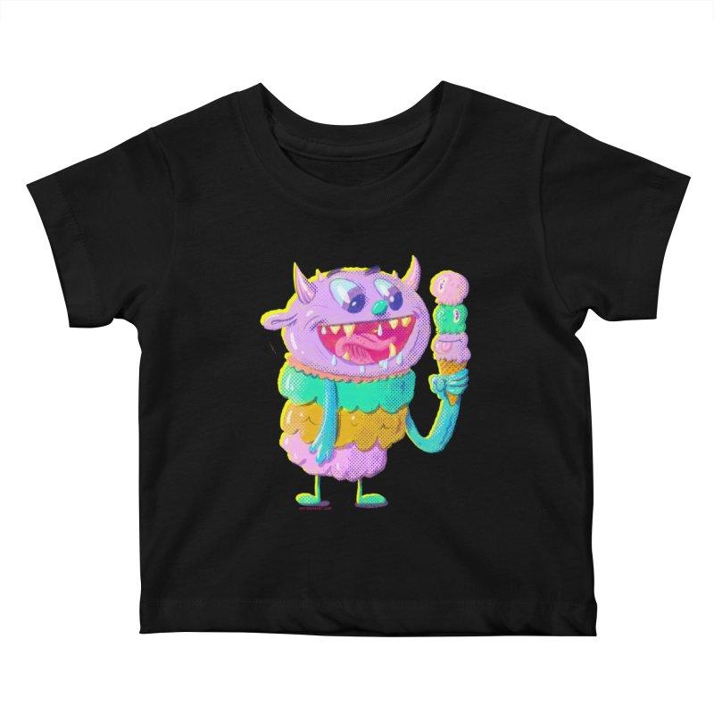 Ice Cream Monster Kids Baby T-Shirt by Nate Bear