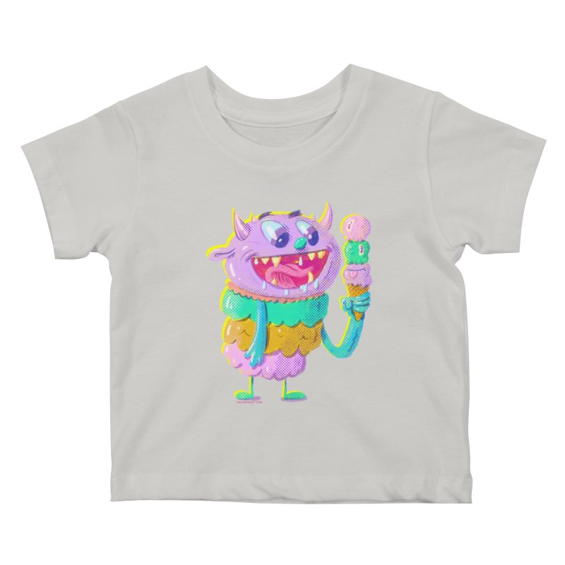 Ice Cream Monster Kids Baby T-Shirt by Nate Bear