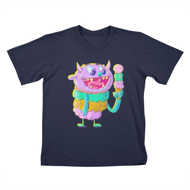 Ice Cream Monster Kids T-Shirt by Nate Bear