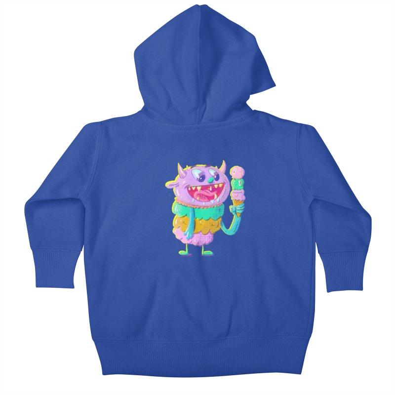 Ice Cream Monster Kids Baby Zip-Up Hoody by Nate Bear