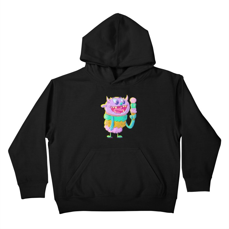 Ice Cream Monster Kids Pullover Hoody by Nate Bear