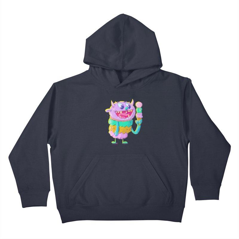 Ice Cream Monster Kids Pullover Hoody by Nate Bear