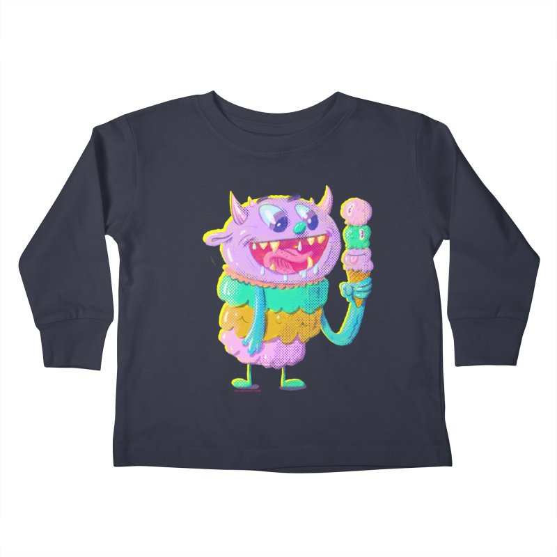 Ice Cream Monster Kids Toddler Longsleeve T-Shirt by Nate Bear