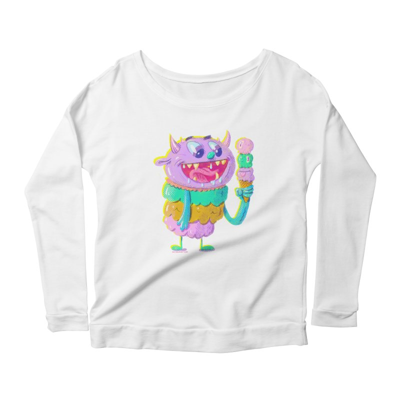 Ice Cream Monster Women's Longsleeve Scoopneck  by Nate Bear