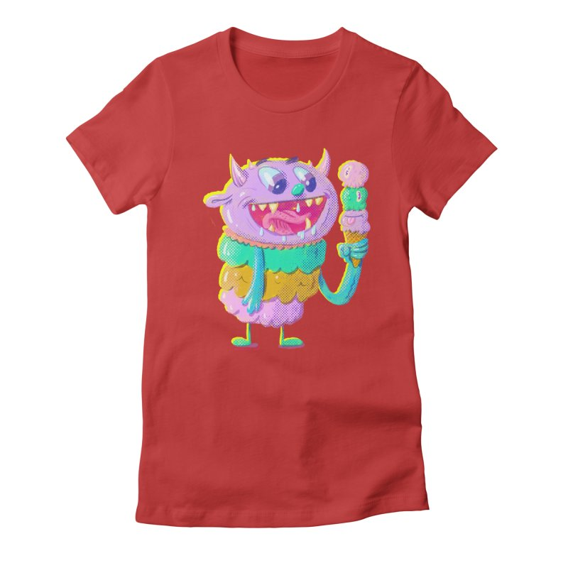 Ice Cream Monster Women's Fitted T-Shirt by Nate Bear