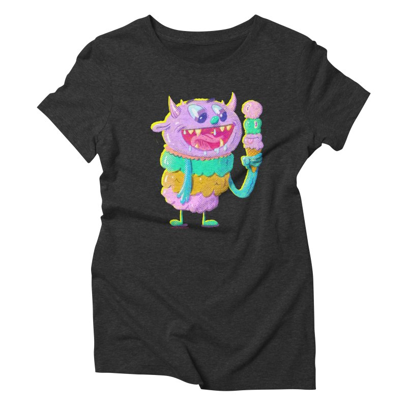 Ice Cream Monster Women's Triblend T-Shirt by Nate Bear