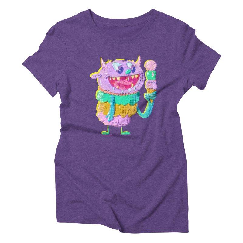 Ice Cream Monster Women's Triblend T-Shirt by Nate Bear