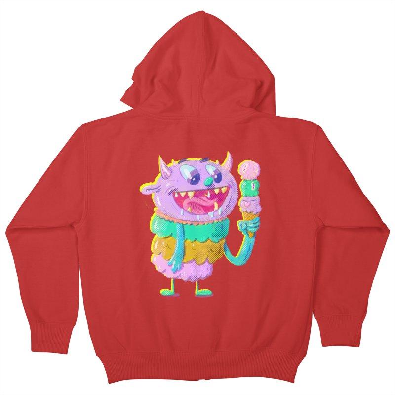 Ice Cream Monster Kids Zip-Up Hoody by Nate Bear