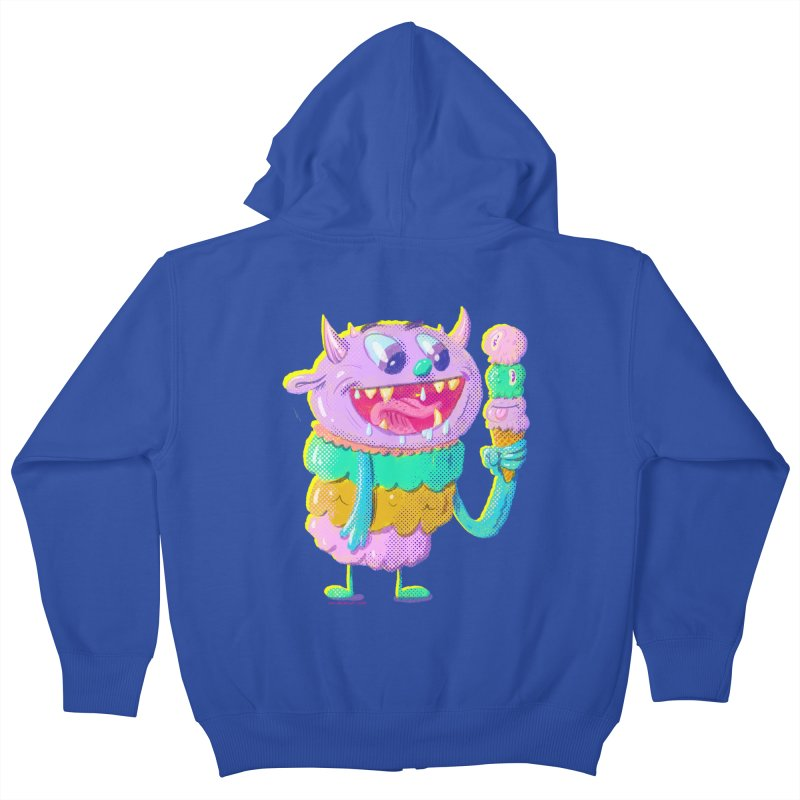 Ice Cream Monster Kids Zip-Up Hoody by Nate Bear