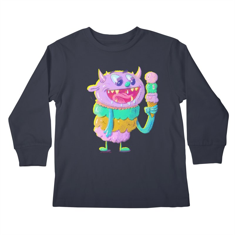 Ice Cream Monster Kids Longsleeve T-Shirt by Nate Bear