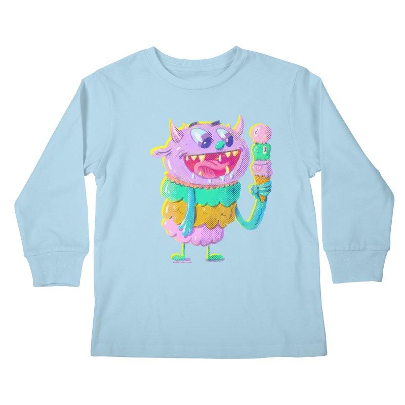 Ice Cream Monster Kids Longsleeve T-Shirt by Nate Bear