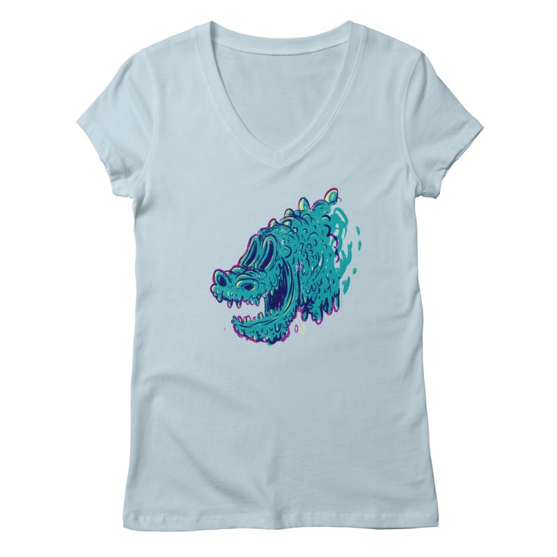 Dino Rex Women's V-Neck by Nate Bear