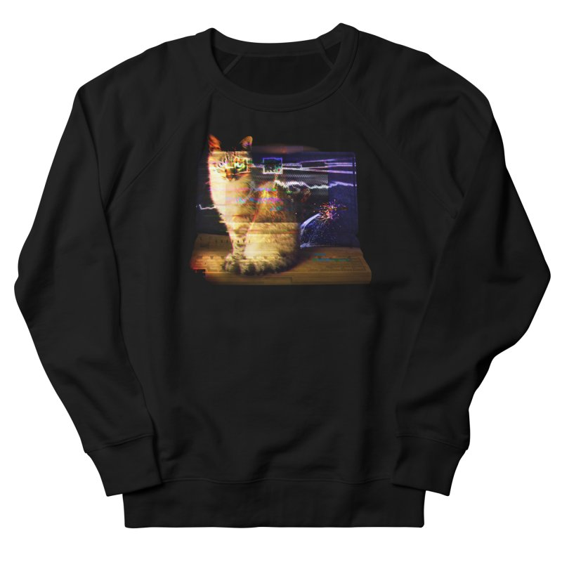 Resting Glitch Cat in Women's French Terry Sweatshirt Black by Nate Christenson
