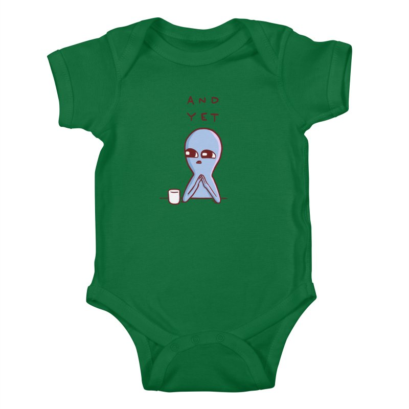 STRANGE PLANET SPECIAL PRODUCT: AND YET Kids Baby Bodysuit by Nathan W Pyle