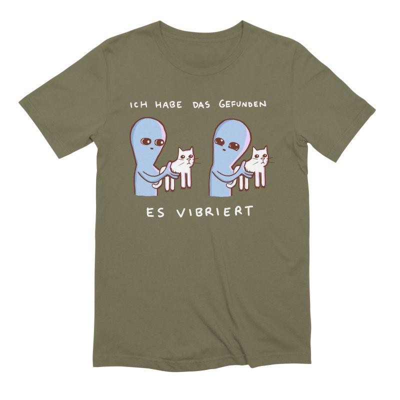 STRANGE PLANET SPECIAL PRODUCT: VIBRATING IN GERMAN in Men's Extra Soft T-Shirt Olive by Nathan W Pyle