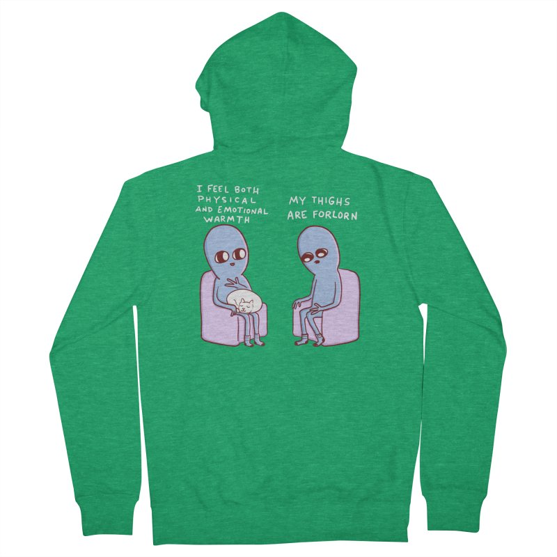 STRANGE PLANET SPECIAL PRODUCT: MY THIGHS ARE FORLORN Women's Zip-Up Hoody by Nathan W Pyle