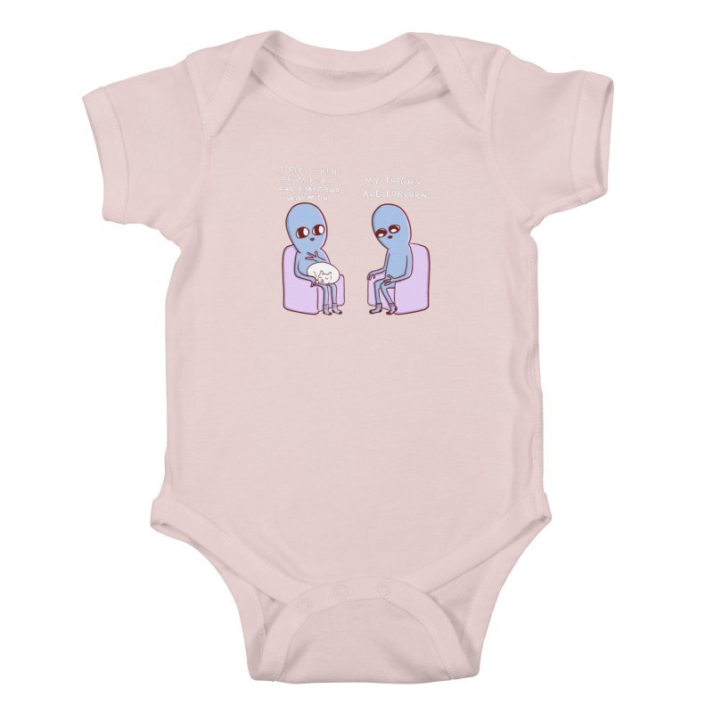 STRANGE PLANET SPECIAL PRODUCT: MY THIGHS ARE FORLORN Kids Baby Bodysuit by Nathan W Pyle