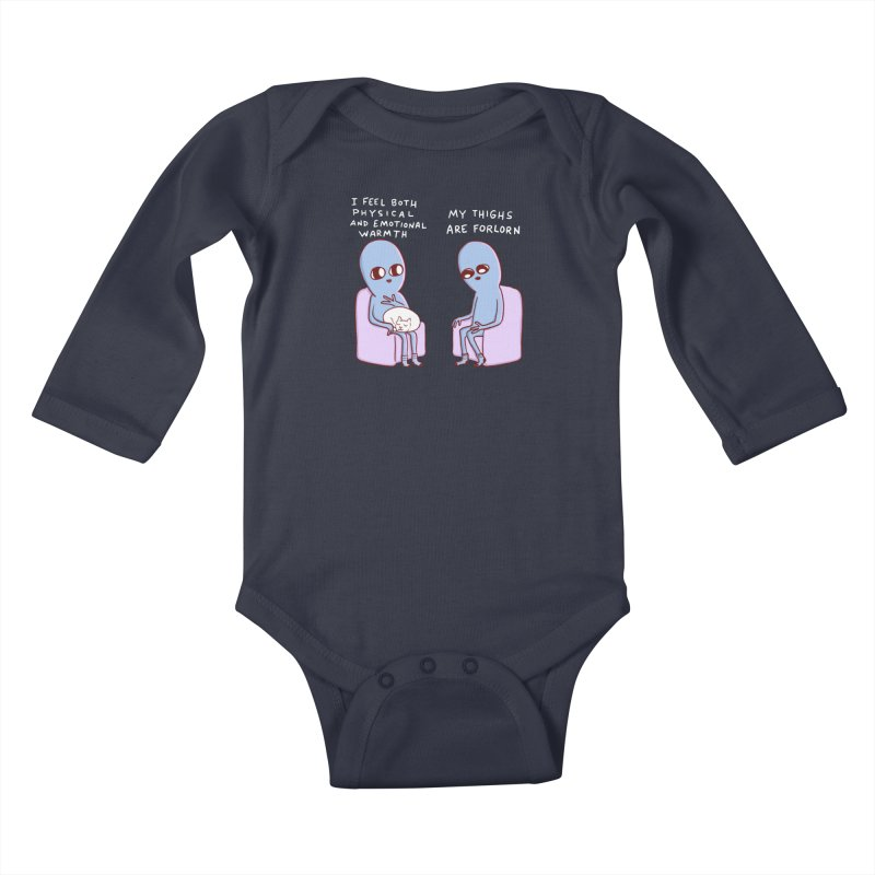 STRANGE PLANET SPECIAL PRODUCT: MY THIGHS ARE FORLORN Kids Baby Longsleeve Bodysuit by Nathan W Pyle
