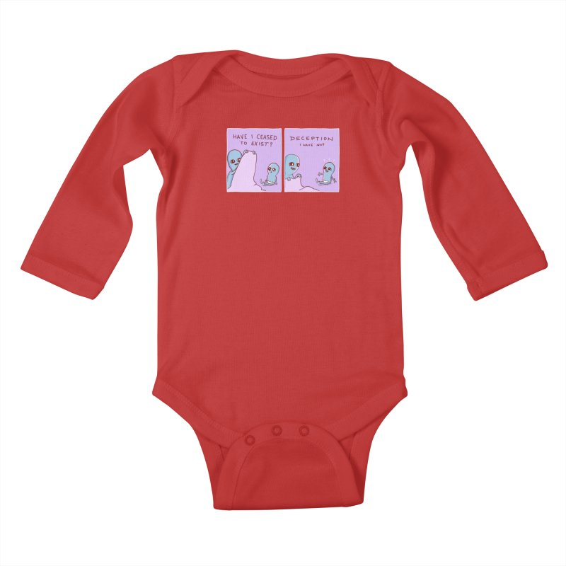 STRANGE PLANET SPECIAL PRODUCT: HAVE I CEASED TO EXIST? DECEPTION I HAVE NOT Kids Baby Longsleeve Bodysuit by Nathan W Pyle Shop | Strange Planet Store | Thread
