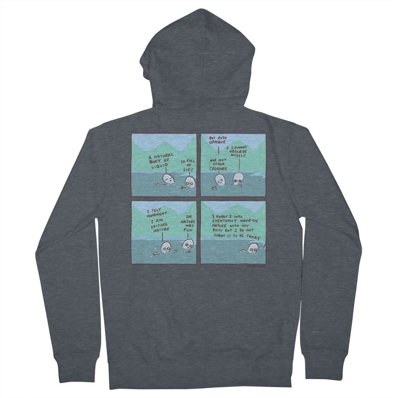 STRANGE PLANET: I AM EXITING NATURE Men's French Terry Zip-Up Hoody by Nathan W Pyle