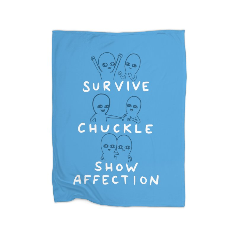 STRANGE PLANET SPECIAL PRODUCT: SURVIVE CHUCKLE SHOW AFFECTION CHARACTERs Home Fleece Blanket Blanket by Nathan W Pyle