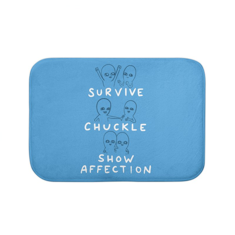 STRANGE PLANET SPECIAL PRODUCT: SURVIVE CHUCKLE SHOW AFFECTION CHARACTERs Home Bath Mat by Nathan W Pyle