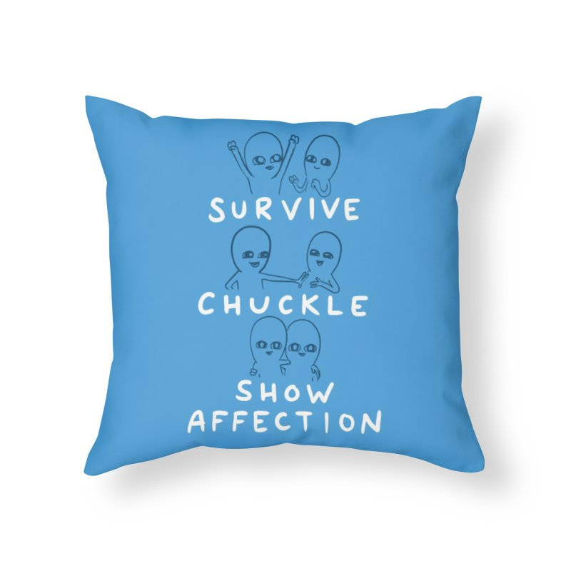 STRANGE PLANET SPECIAL PRODUCT: SURVIVE CHUCKLE SHOW AFFECTION CHARACTERs Home Throw Pillow by Nathan W Pyle