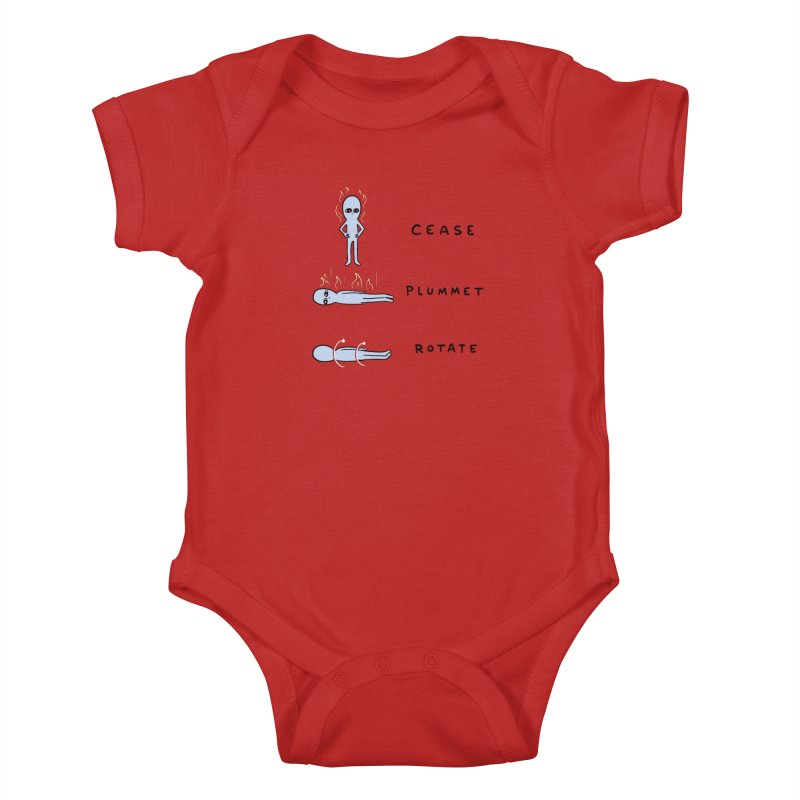 STRANGE PLANET SPECIAL PRODUCT: CEASE PLUMMET ROTATE Kids Baby Bodysuit by Nathan W Pyle