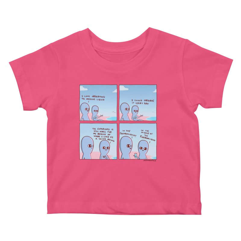 STRANGE PLANE SPECIAL PRODUCT: THE FARFROMLIQUID Kids Baby T-Shirt by Nathan W Pyle