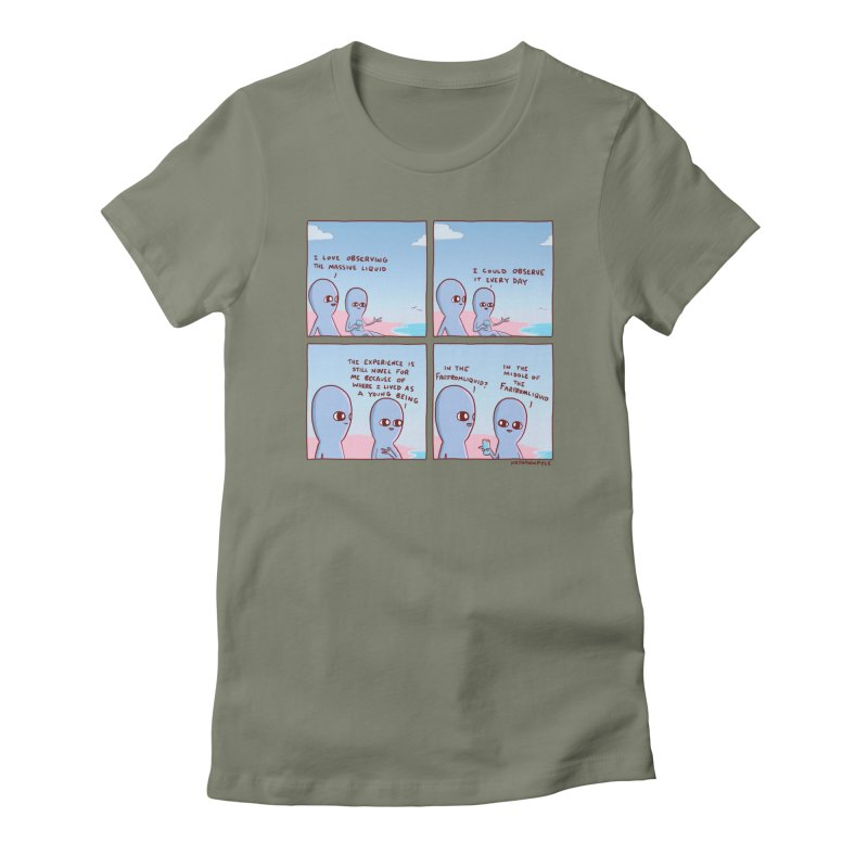 STRANGE PLANE SPECIAL PRODUCT: THE FARFROMLIQUID Women's Fitted T-Shirt by Nathan W Pyle