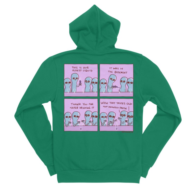 STRANGE PLANET: THIS IS OLDEST LIQUID Men's Sponge Fleece Zip-Up Hoody by Nathan W Pyle